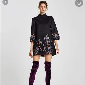 NWT Zara embroidered faux suede dress